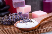 Handmade lavender soap and bath salt wellness spa — Stock Photo
