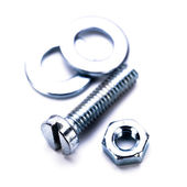 Silver steel hexagonal screw tool objects macro — Stock Photo