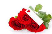 Valentines gift of beautiful red roses — Stock Photo