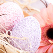Stock Photo: Beautiful Easter eggs in crocheted covers