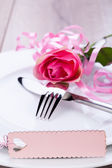 Valentines table setting — Stock Photo