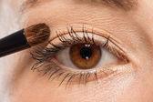 Haciendo la sombra de ojos maquillaje marrón de hermosos ojos — Foto de Stock