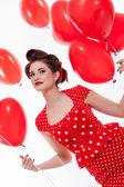 Beautiful retro woman celebrating Valentines — Stock Photo