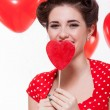 Beautiful retro woman celebrating Valentines — Stock Photo