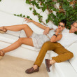 Elegant trendy young couple — Stockfoto