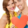 Stock Photo: Happy young couple in love with red heart valentines day