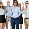 Stock Photo: Successful business team cheering