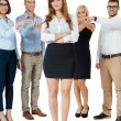 Team of young business people mobbing bullying collegue — Stock Photo