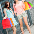 Attractive young girls women on shopping tour — Stock Photo #37992097