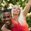 Young couple in love summertime fun happiness romance — Stock Photo