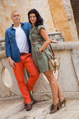 Young attractive couple in summer fashion — Stok fotoğraf