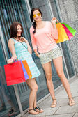 Attractive young girls women on shopping tour — Stock fotografie