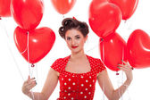 Young woman with red lips — Stock Photo