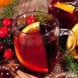 Hot tasty spicy mulled red wine with orange and cinnamon christmas — Stock Photo #40761613