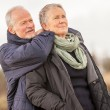 Happy senior couple elderly people together outdoor — Stock Photo #40761683