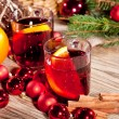 Hot tasty spicy mulled red wine with orange and cinnamon christmas — Stockfoto
