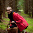 Young woman collecting mushrooms in forest — Stock Photo #40764905
