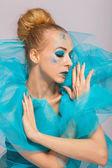 Woman in a blue gauze ruff — Stock Photo