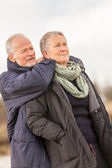 Happy senior couple elderly people together outdoor — Stock Photo