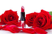 Sexy red or scarlet lipstick with roses — Stok fotoğraf