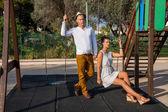Elegant trendy young couple — Stock Photo