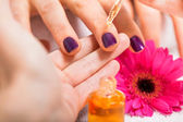 Manicure making in beauty spa salon — Stock Photo