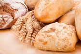 Tasty fresh baked bread bun baguette natural food — Foto Stock