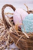 Beautiful easter egg decoration colorfull eggs seasonal pastel — Stock Photo