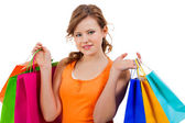Happy attractive young shopaholic — Stock Photo