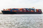 Fully laden container ship in port — Foto Stock
