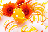 Colourful yellow decorated Easter eggs — Stock Photo