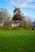 Traditional wooden windmill in a lush garden — Stockfoto
