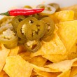 Nachos with chilli pepperoni — Stock Photo