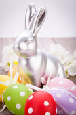Easter  bunny and eggs — Stock Photo