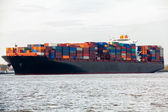 Container ship in port — 图库照片
