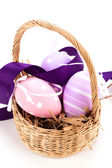 Traditional Easter eggs basket — Stock Photo