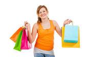Aantrekkelijke vrouw met kleurrijke tassen — Stockfoto