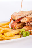 French fries and sandwich — Stock Photo