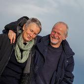 Senior couple walking together — Stock Photo