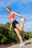 Woman stretching fitness — Stock Photo