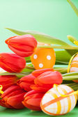 Colourful red Easter still life — Stock Photo