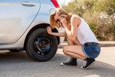 Woman with car breakdown — Stock Photo