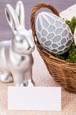 Easter still life, bunny and eggs — Stock Photo