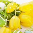 Yellow and green spring Easter Eggs — Stock Photo