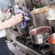 Cooking in a commercial kitchen — Stock Photo