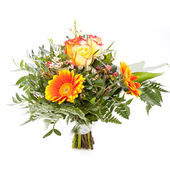 Vivid orange gerbera daisy in a bouquet — Stock fotografie
