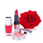 Fashionable cosmetics with red rose — Stockfoto