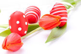 Colorful red Easter still life — Stock Photo