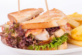 Club sandwiches with potato French fries — Stock Photo