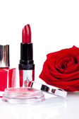Fashionable cosmetics with red rose — Stock fotografie
